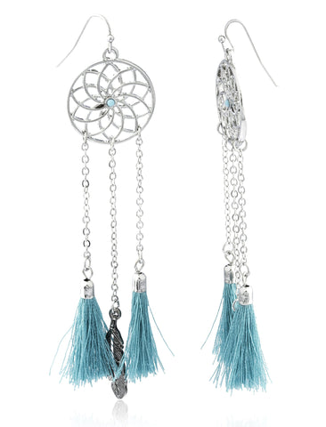 Dream Catcher With Fringes And Feathers Dangle Earrings (Silvertone W/ Turquoise)