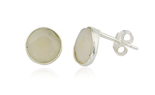 Sterling Silver Simulated Crystal Clear Round Stone Earrings