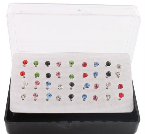 Eighteen Pairs Of Nylon Post Stud Earrings (Multicolor)