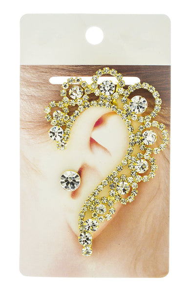 Elegant Ear Cuff With Clear Rhinestones And Stud Earring (Goldtone W/ Clear)
