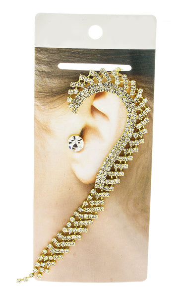 Embedded Heart Design 1.75 Inch Hoop Earrings With Rhinestones (Goldtone)