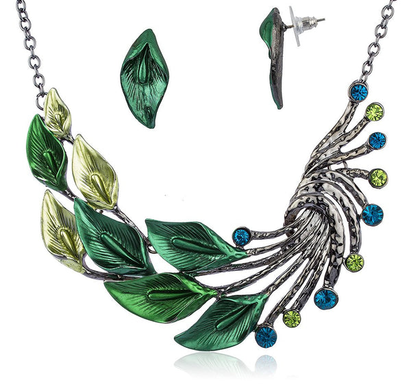 Ethnic Style Tibetan Peacock Crystal Chunky Bib Earrings Adjustable Necklace Set (Green)