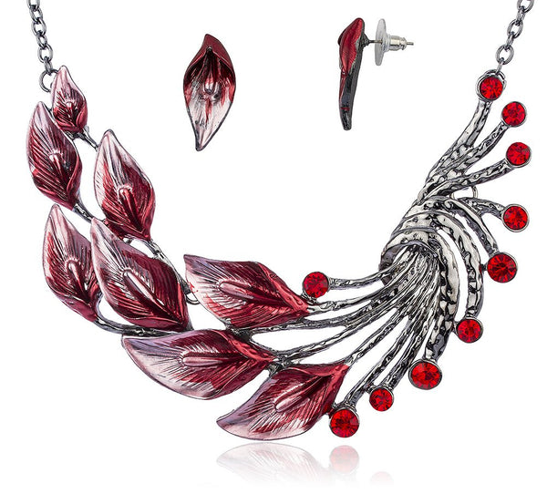 Ethnic Style Tibetan Peacock Crystal Chunky Bib Earrings Adjustable Necklace Set (Red)