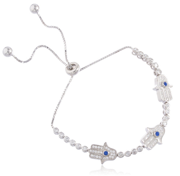 Evil Eye And Hamsa Real 925 Sterling Silver Bracelet With Cubic Zirconia Stones (Hamsa)