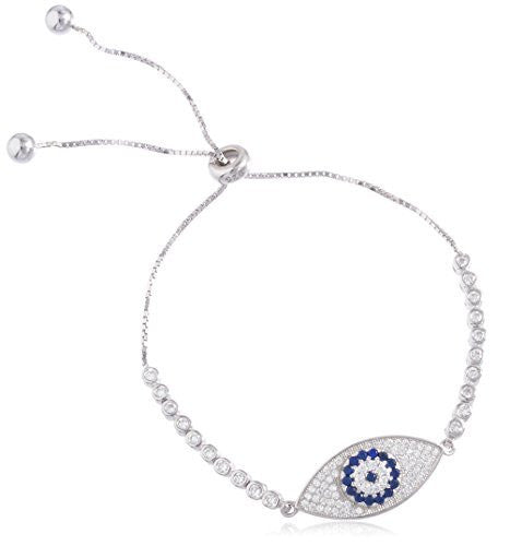 Evil Eye & Hamsa Real 925 Sterling Silver Bracelet With Cubic Zirconia Stones (Evil Eye)