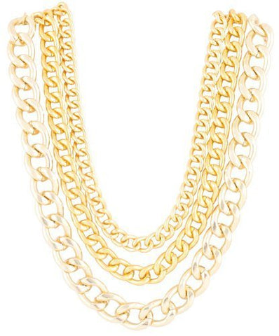 Goldtone 20 Inch Adjustable Multi Chunky Cuban Chain Necklace