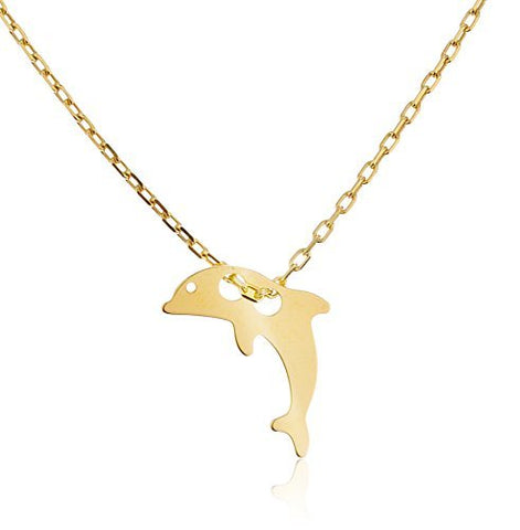 925 Sterling Silver Dolphin Pendant with an 18 Inch Cable Necklace
