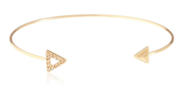 Fancy Arrow Delicate Cuff Bangle With Stones (Goldtone)