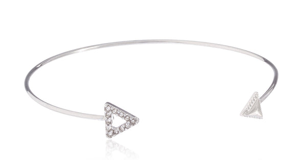 Fancy Arrow Delicate Cuff Bangle With Stones (Silvertone)