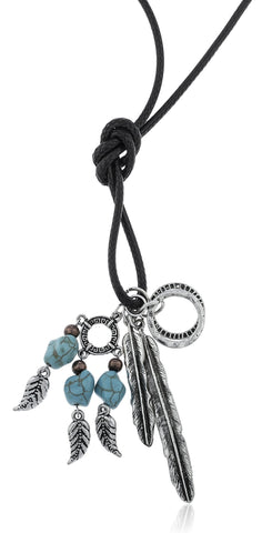 Faux Leather Cord Necklace With Multi Western Dangling Charms (Silvertone Feather)