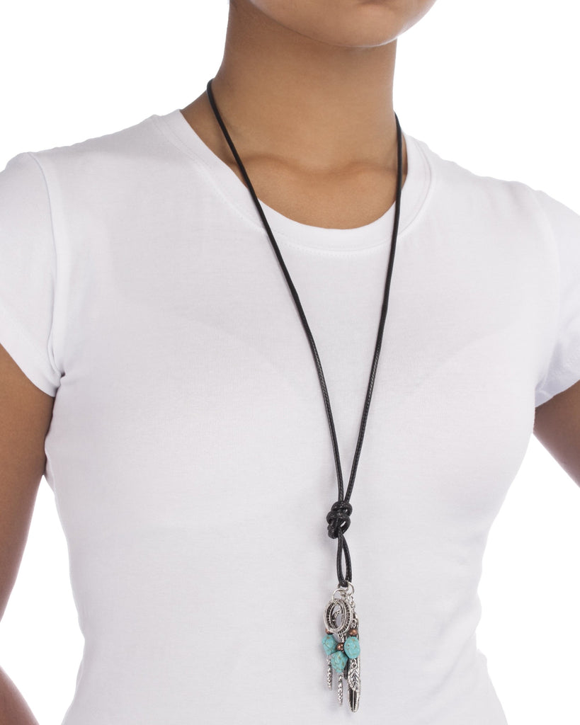 Faux Leather Cord Necklace With Multi...