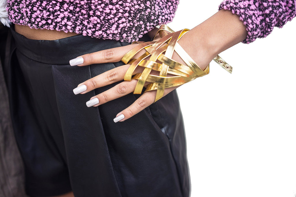 Faux Leather Weave Glove Hand Chain...
