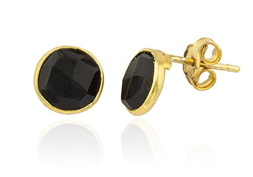 Sterling Gold Plated Simulated Onyx Round Stone Earrings