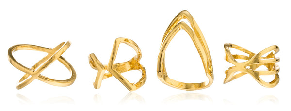 Four Piece Assorted Styles Finger Ring Set - Available In Goldtone Or Silvertone (Goldtone)