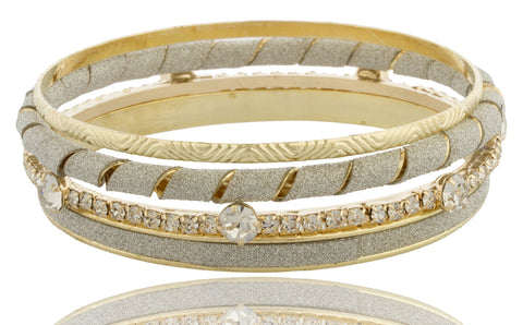 Frosted And Iced Out, Twisted Style Four Piece Bangle Bracelet Set (Goldtone)