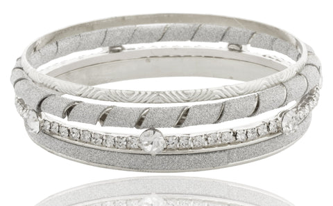 Frosted And Iced Out, Twisted Style Four Piece Bangle Bracelet Set (Silvertone)