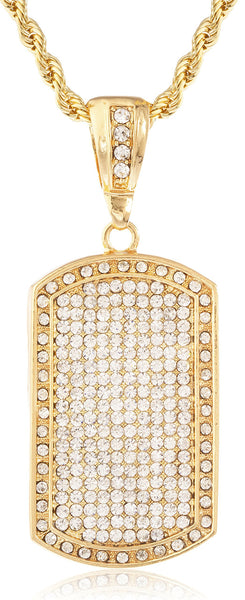 Fully Iced Out Large Dog Tag Pendant With A 5mm Rope Chain (Goldtone W/ 36 Inches)