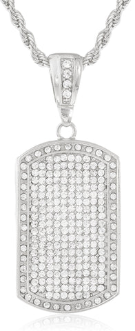Fully Iced Out Large Dog Tag Pendant With A 5mm Rope Chain (Silvertone W/ 30 Inches)