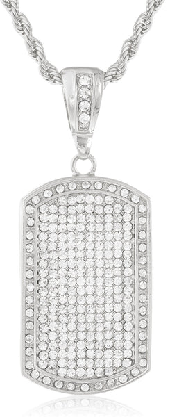 Fully Iced Out Large Dog Tag Pendant With A 5mm Rope Chain (Silvertone W 36 Inches)