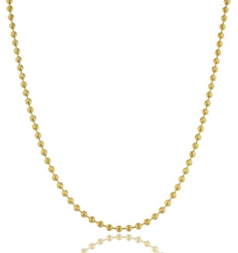 Gold 3mm Moon Cut Beaded Necklace...
