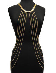 Gold Adjustable Length Body Chain With Eight Dangling Cuban Links