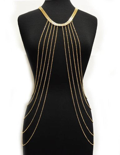 Gold Adjustable Length Body Chain With...