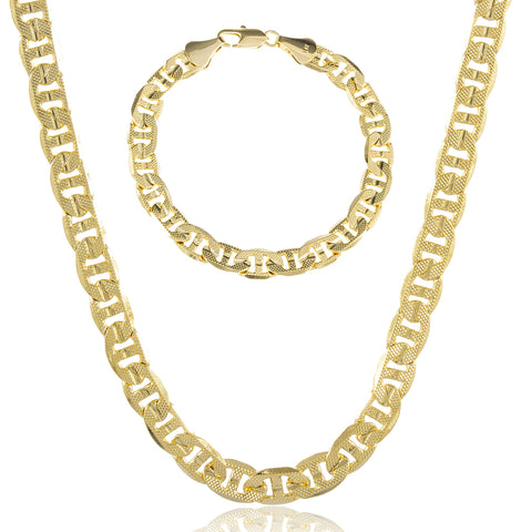 Gold Brass 7mm Frosted Concave Mariner Necklace And Matching 8 Inch Bracelet Jewelry Set