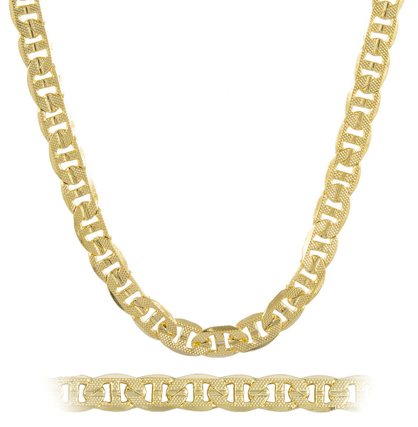 Gold Brass 8mm Frosted Concave Mariner Necklace