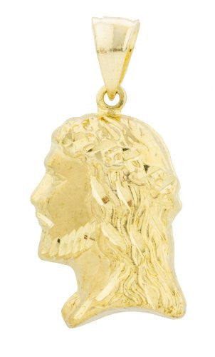 Gold Brass Jesus Face Pendant With...