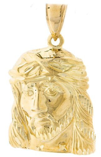Gold Brass Jesus Portrait Pendant With...