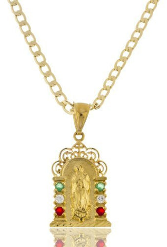 Gold Brass La Virgen De Guadalupe Pendant With A 4mm Cuban Chain Necklace