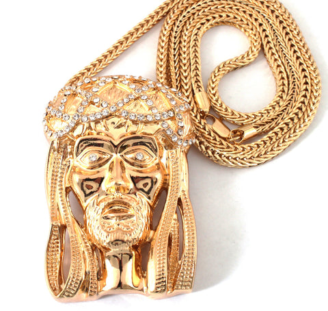gold iced out large jesus with crown pendant with franco chain necklace