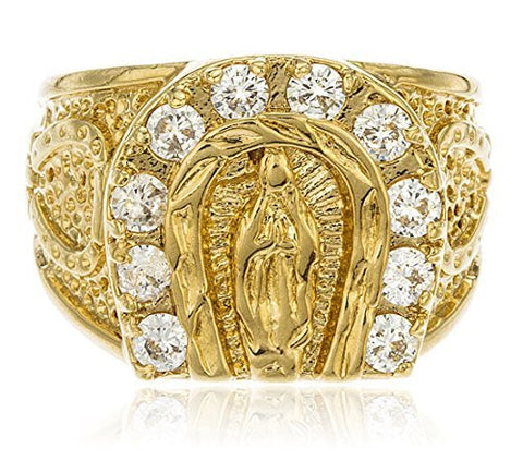 Gold Layered Religious St Mary Horseshoe With Clear Cubic Zirconia Stones Ring Sizes 9-12
