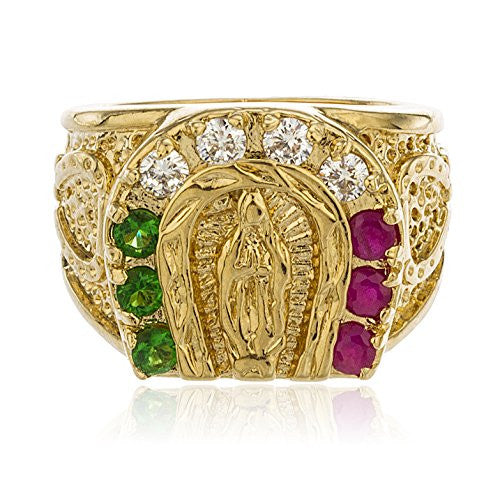 Gold Layered Religious St Mary Horseshoe With Mulitcolor Cubic Zirconia Stones Ring Sizes 9-12