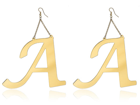 Gold Letters Of The Alphabet Drop Earrings - 10 Letters To Choose From