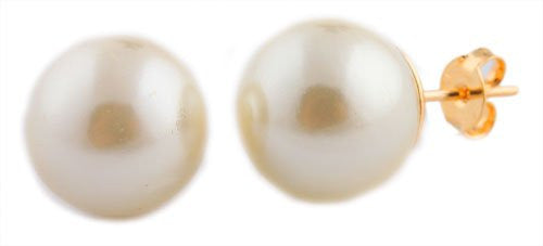 Gold Overlay 10mm Simulated Pearl Stud...