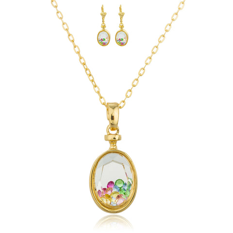 Gold Overlay Oval Crystal Stone Filled Pendant With An 18 Inch Necklace And Matching Earrings Set