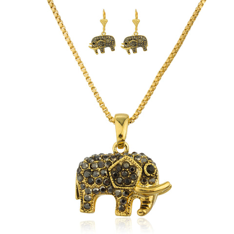 Gold Overlay With Black Stones Elephant Adjustable Pendant Necklace With Matching Earrings