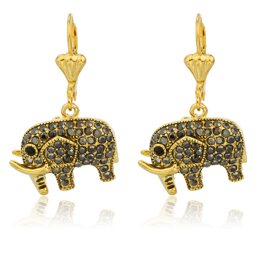 Gold Overlay With Black Stones Elephant...