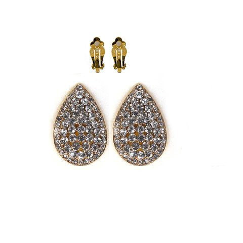 Gold With Clear Iced Out Tear Drop Shaped Clip On Earrings