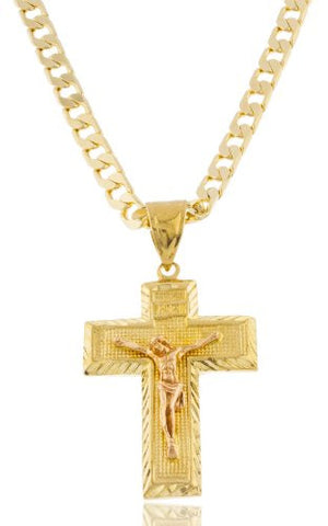 Gold With Rose Gold Brass INRI Jesus On Thick Cross Pendant With An 8mm Cuban Chain Necklace