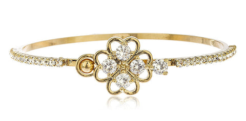 Bangle with Clover and Clear Stones