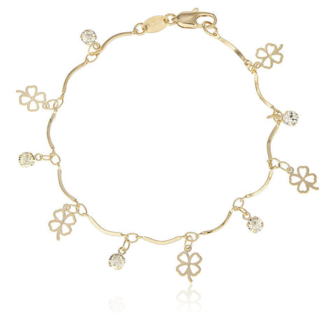 Bracelet with Dangling Four Leaf Clover Charms
