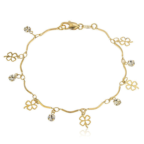 Charm Tennis Bracelet with Four Leaf Clover