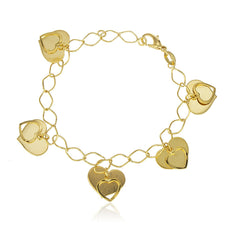 Dangling Heart Charms Bracelet