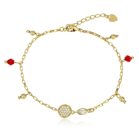 Red Disco Ball and Heart Bracelet