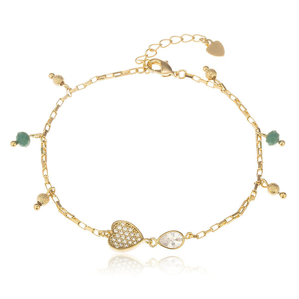 Teal Disco Ball and Heart Bracelet