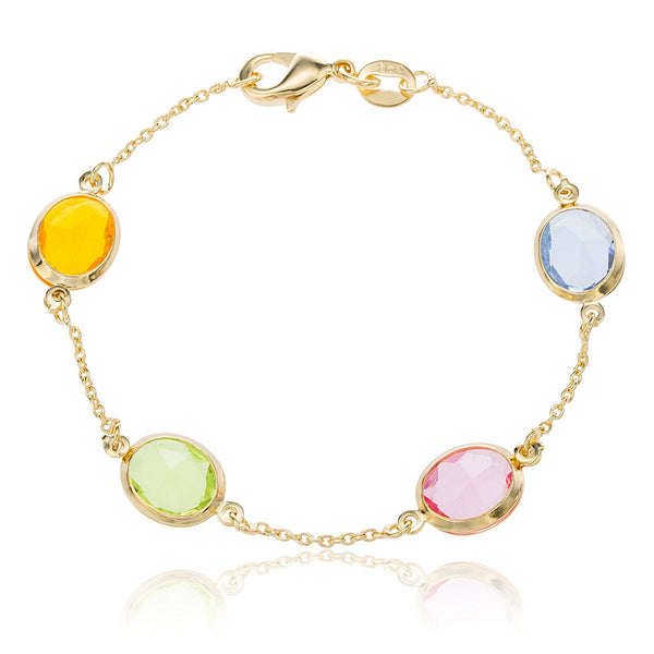 Multicolored Stones Cable Bracelet