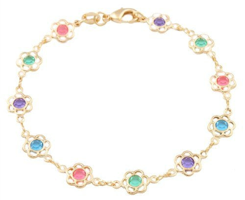 Multicolored Stones Flower Bracelet