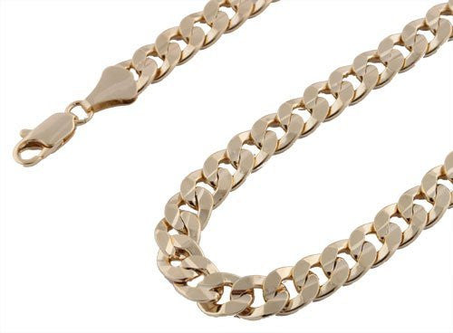 Goldtone 10mm 24 Inch Concave Cuban Chain Necklace